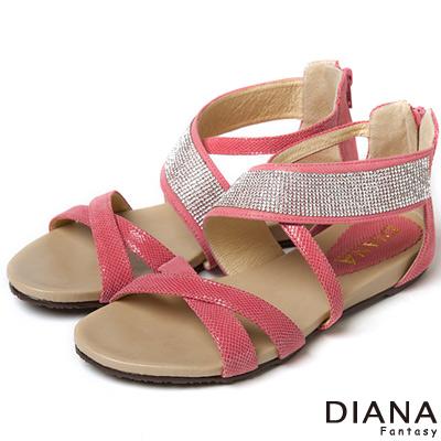 DIANA 甜漾迷人--豔夏搶眼水鑽真皮涼拖鞋-粉