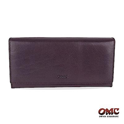 OMC 原皮系列-植鞣牛皮壓扣16卡透明窗雙隔層零錢長夾-紫色