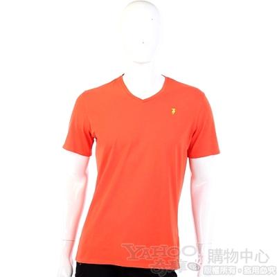 TRUSSARDI-JEANS 橘色品牌圖幟V領短袖上衣