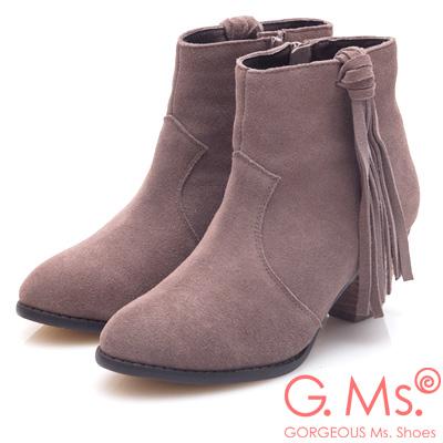 G.Ms. 牛麂皮流蘇高粗跟短靴-可可灰