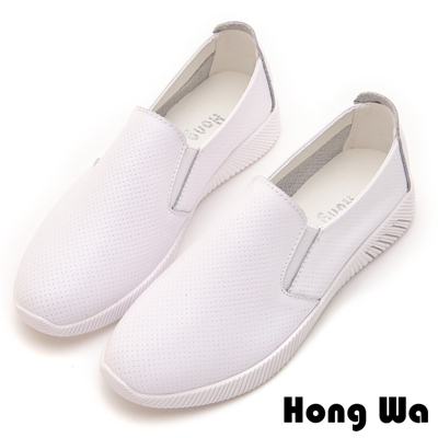 Hong Wa 穿孔簡約造型牛皮樂福鞋 - 白