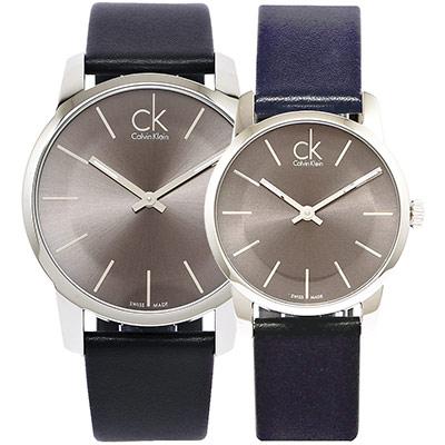 CK 經典款極簡對錶(K2G21107.K2G23107)-灰黑/43.31mm
