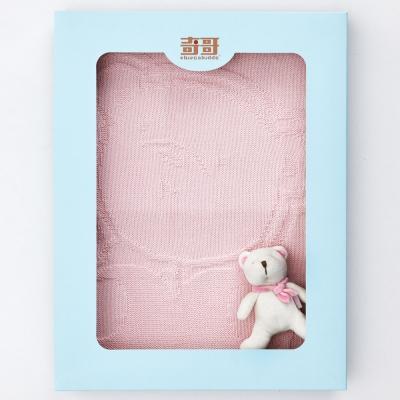 奇哥 純棉編織毯禮盒-粉色