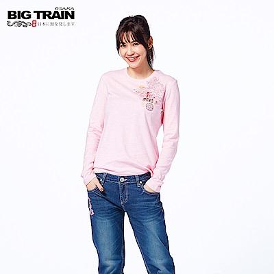 BIG TRAIN 豐饒菊鯉長袖圓領T-女-粉紅˙