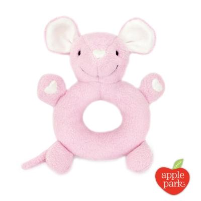 【美國 Apple Park】有機棉手搖鈴啃咬玩具 - 粉紅鼠