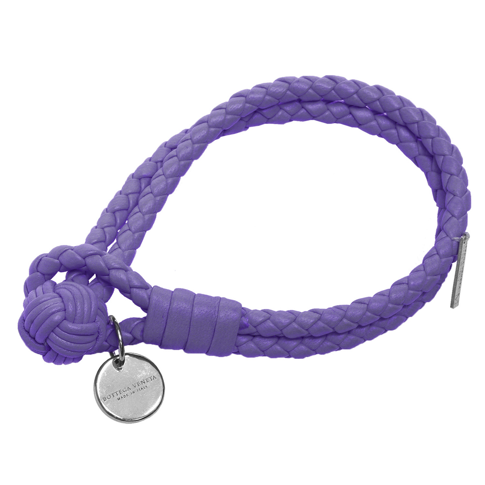 BOTTEGA VENETA 經典編織小羊皮雙繩手環(S-紫蘿蘭)