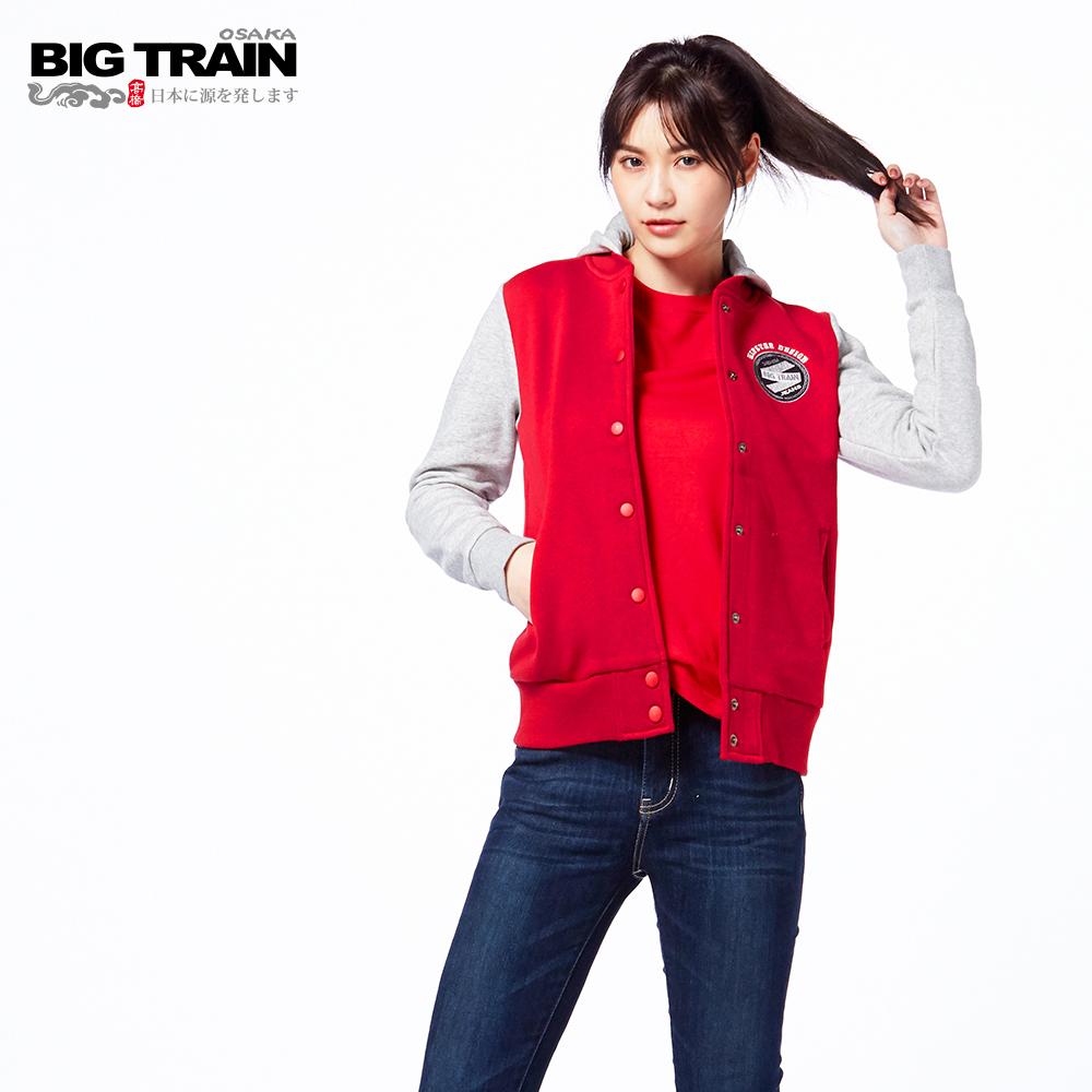 BIG TRAIN 布章內刷毛連帽棒球外套-女-紅色