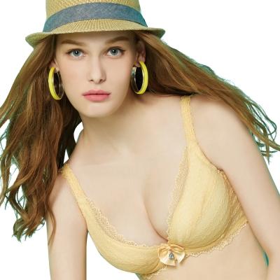 思薇爾 啵時尚系列A-E罩深V款蕾絲包覆內衣(霞金色)