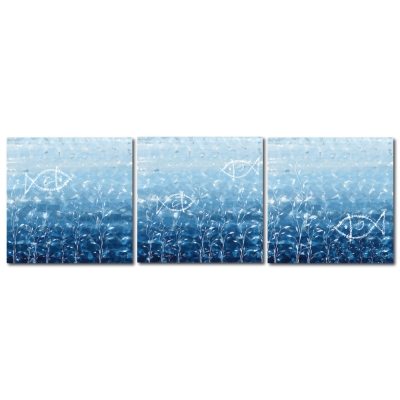 123點點貼- 三聯式無痕創意壁貼 - 海洋 30*30cm