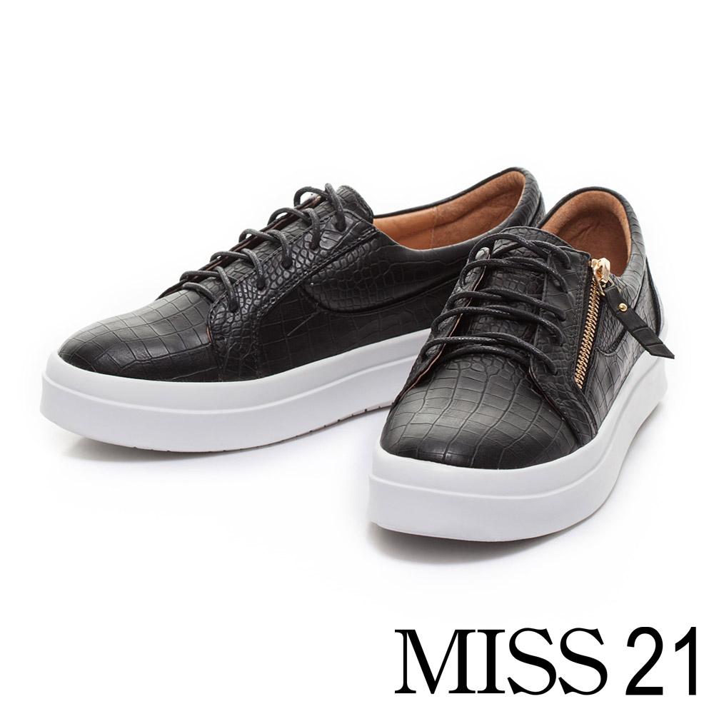 MISS 21綁帶造型鱷魚紋厚底休閒鞋-黑