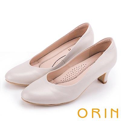 ORIN 都會時尚OL 嚴選牛皮典雅素面高跟鞋-粉米