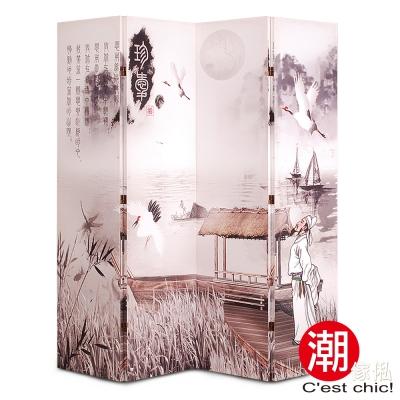 潮傢俬-富山春居四片式彩繪屏風 W160xD2.5xH180cm