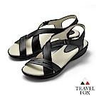 TRAVEL FOX(女) 希臘的風 牛皮舒適交叉綁帶微跟休閒涼鞋 - 女神黑