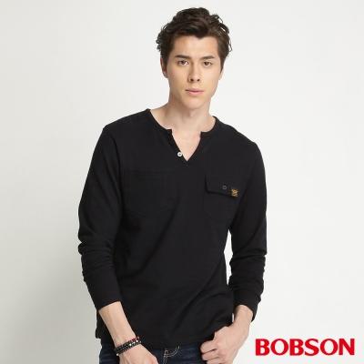 BOBSON-男款合身版雙口袋長袖上衣-黑88