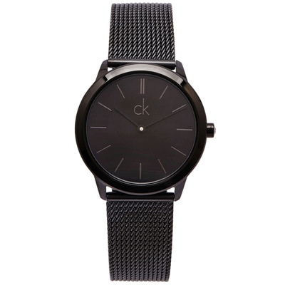 CK Calvin Klein 黑色的米蘭帶手錶(K3M224B1)-黑面X黑色/34mm