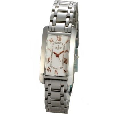 Cloie 魅力時尚方型錶時尚鋼帶腕錶-白/玫瑰金/21mm