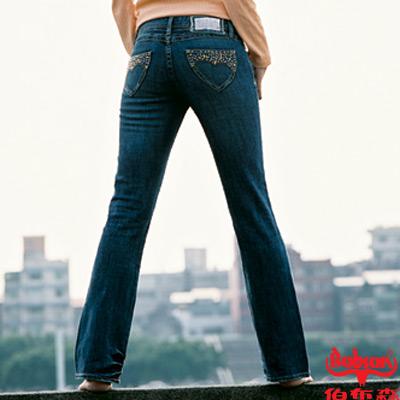 【BOBSON】女款磨力美人燙雙色亮鑽小喇叭褲(藍53)