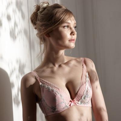 羅絲美內衣 - 玫苜傳情深V泡棉款B-D罩杯內衣 (甜美粉)