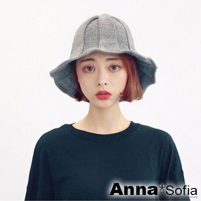 AnnaSofia 古著片型毛線織 軟式盆帽漁夫帽(中灰系)