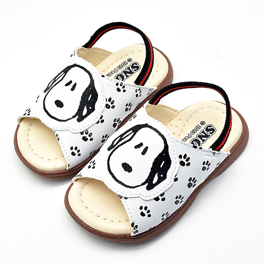 Snoopy史努比 可愛腳印塗鴉透氣真皮學步拖鞋-白 (21-25歐碼)