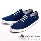 【WALKING ZONE】純棉帆布休閒男鞋-深藍(另有灰、牛仔藍)