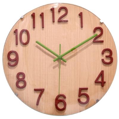 a.cerco 立體數字凸玻璃造型鐘-櫸木紋