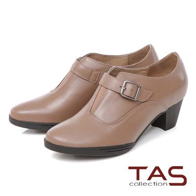 TAS V口拼接皮帶扣粗跟踝靴-質感卡其