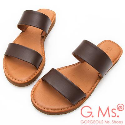 G.Ms. MIT系列-牛皮雙一字鋸齒底平底涼拖鞋-咖啡色