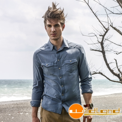 Wildland 荒野 0A31296-49深灰藍男 RE雙色抗UV顯瘦修身長襯衫
