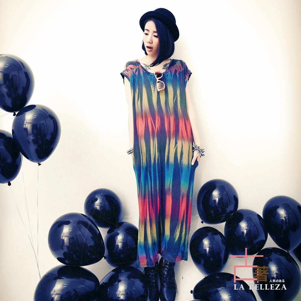 中大尺碼 彩虹直條波紋刷色長版棉洋裝-La Belleza