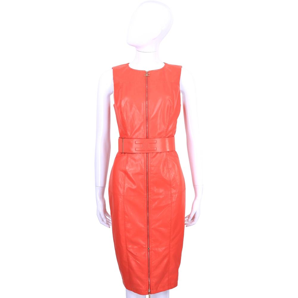 ELISABETTA FRANCHI 橘紅色仿皮質拉鍊造型無袖洋裝(附腰帶)