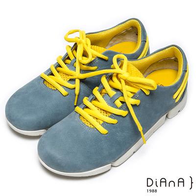 DIANA 輕。愛的--極限輕量雙色綁帶牛皮休閒鞋-藍