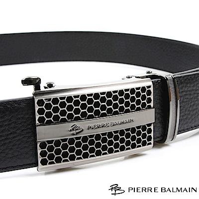 PB 皮爾帕門-都會設計蜂巢六角格款-頭層牛皮自動扣皮帶-855