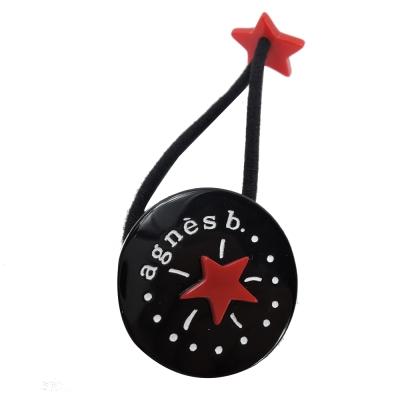 agnes b. 圓牌星星時鐘髮圈(黑)