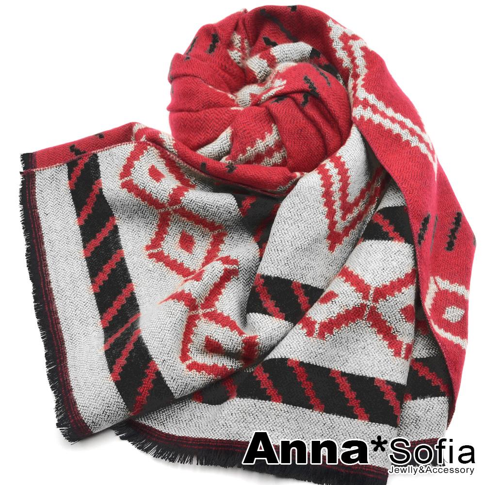 【滿688打75折】AnnaSofia 層菱格圖騰 仿羊絨披肩圍巾(櫻紅色)