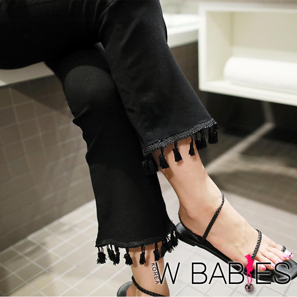 正韓 簡約素面流蘇修身喇叭褲 (黑色)-W BABIES