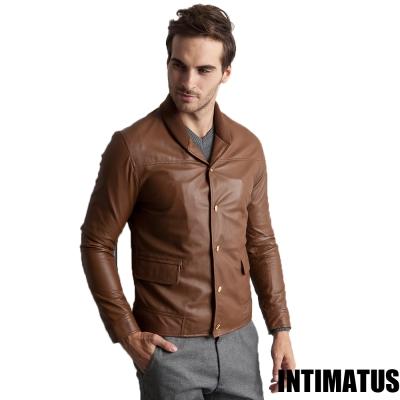 真皮皮衣 棒球外套雙重穿法小羊皮皮衣 咖啡色-INTIMATUS