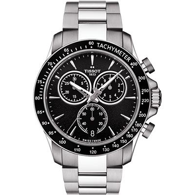 TISSOT 天梭 V8系列三眼計時腕錶-黑/42.5mm