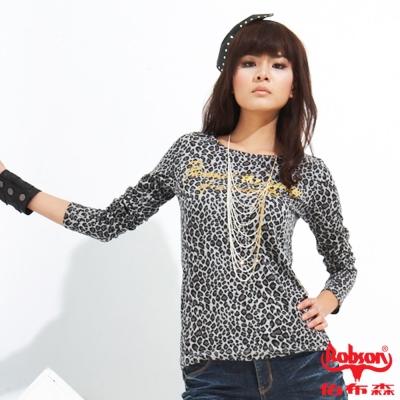 【BOBSON】女款燙金字母豹紋長袖上衣(黑01)
