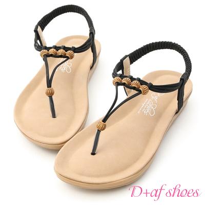 D+AF 海島假期.民族風木珠平底夾腳涼鞋*黑