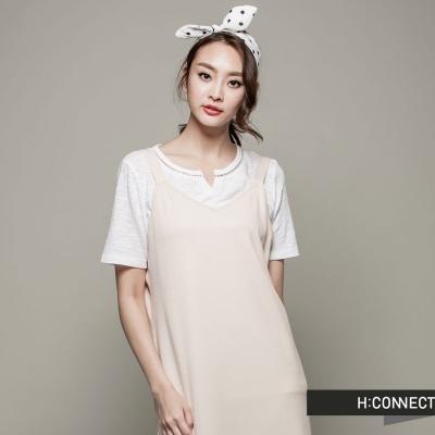 H:CONNECT 韓國品牌 女裝 - 微V領休閒洋裝 - 駝(快)