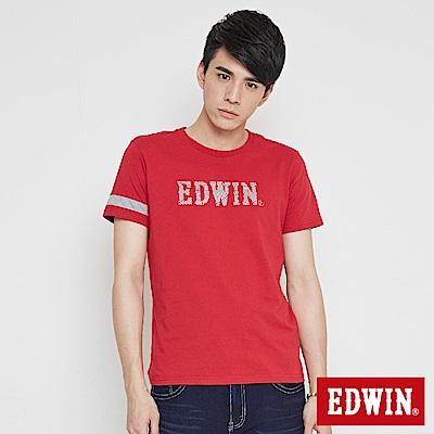EDWIN LOGO運動風短袖T恤-男-紅色