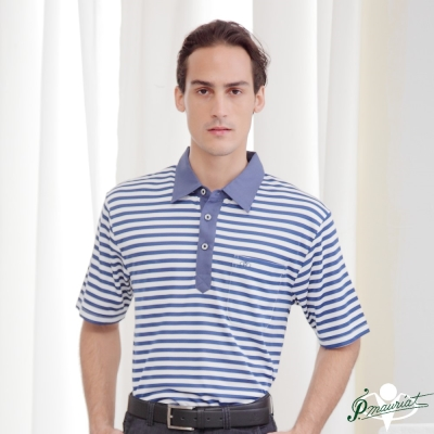 PAUL MAURIAT波爾.瑪亞吸溼排汗短袖POLO衫-水手藍