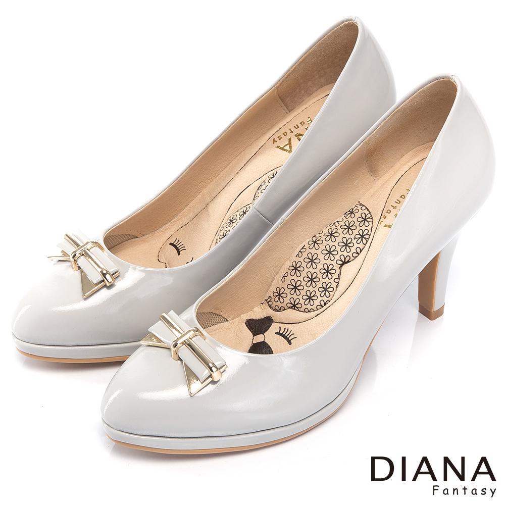 DIANA 超厚切LADY系列--時尚蝴蝶結真皮跟鞋-淺灰