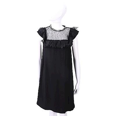 PINKO 蕾絲珍珠細節黑色荷葉袖絲質洋裝