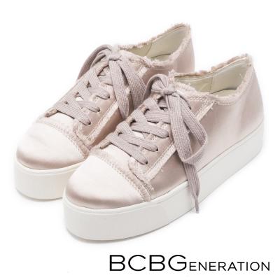BCBGeneration-樂活時尚-美型緞面厚底休閒鞋-米色