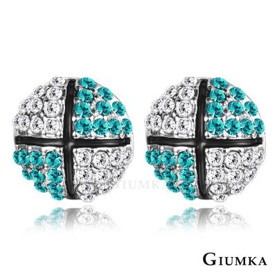 GIUMKA 滾動愛情 水晶耳環-藍綠