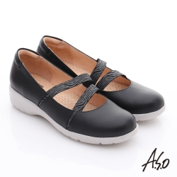A.S.O 健康鞋 素面牛皮鬆緊帶奈米休閒鞋 黑色