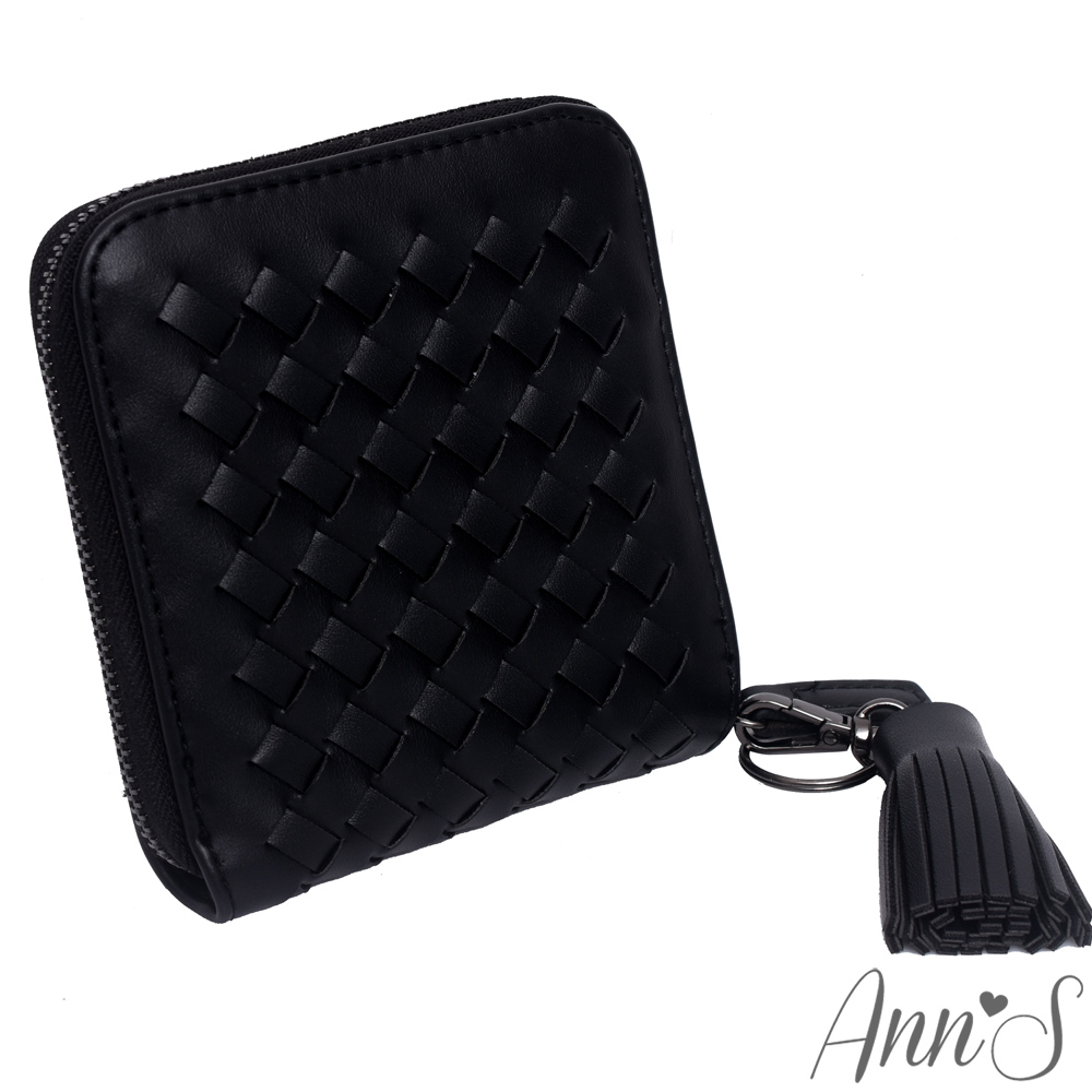 Ann'S小巧編織皮革流蘇拉鍊短皮夾-黑