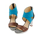 BESO 時髦女王 異材質拼接撞色涼鞋~藍